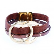 Bracelet - Brown with 2 Metal Rings