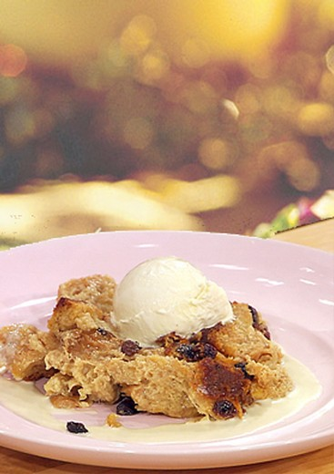 Warm White Chocolate Bread Pudding