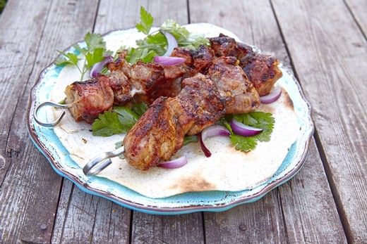 Lamb Souvlaki with Grape Relish